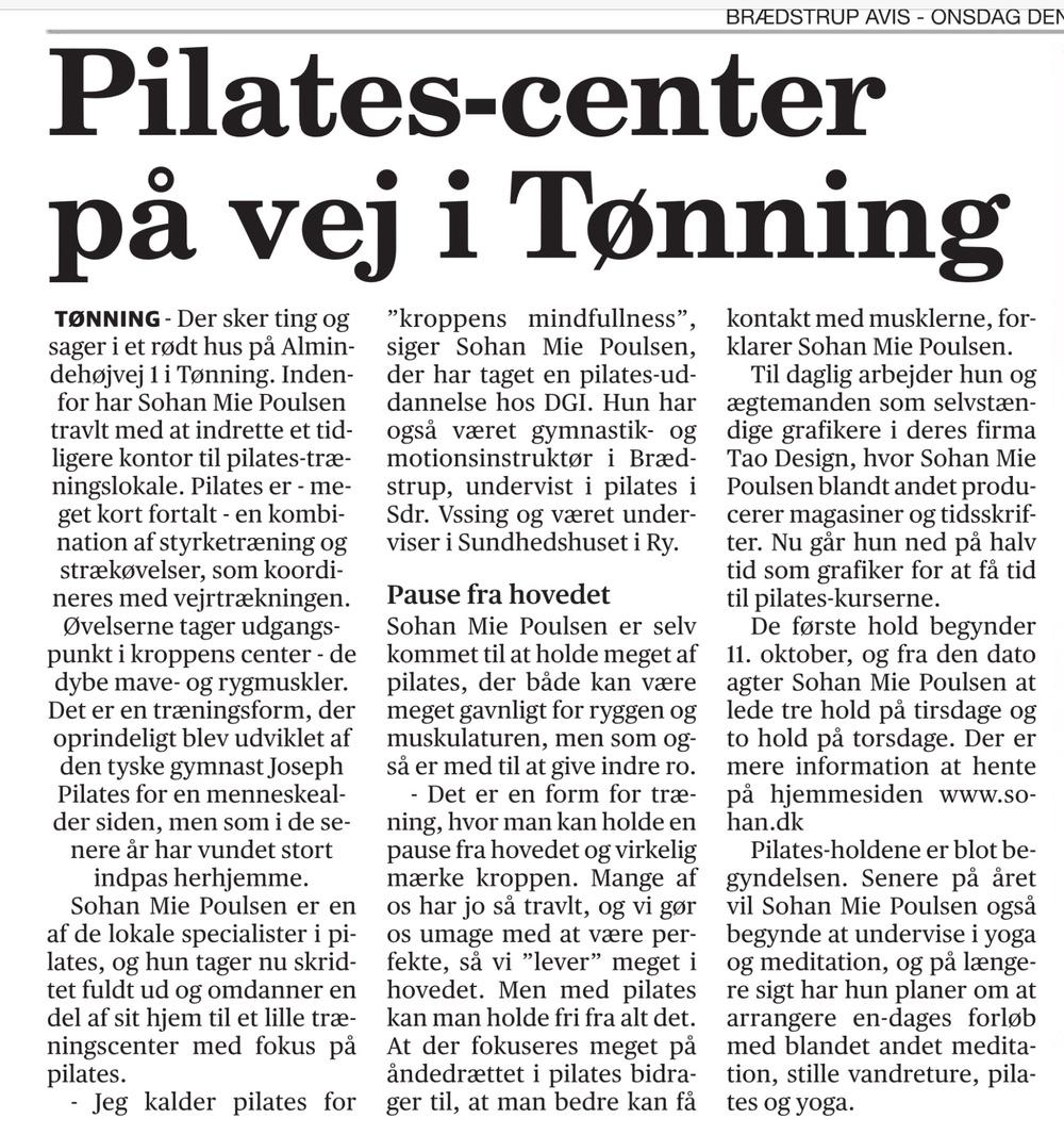 Pilates med Sohan Mie Poulsen - Tønning, Brædstrup, Østbirk